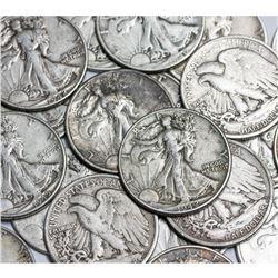 (100) Walking Liberty Half Dollars 90% Silver