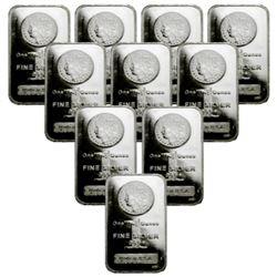 (10) 1 oz Morgan Design Silver Bars