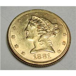 1881 $5 Gold Liberty Half Eagle
