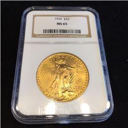 1925 MS 65 NGC $20 Gold Saint Gaudens
