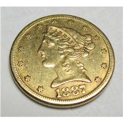 1887 S $5 Gold Liberty Half Eagle