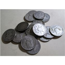 Lot of (20) Franklin Half Dollars -90% Silver