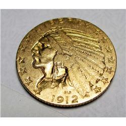 1912 S $ 5 FIVE Gold Indian Half Eagle