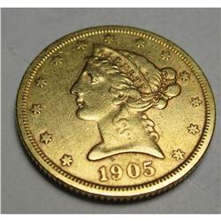 1905 S $5 FIVE Gold Liberty Half Eagle