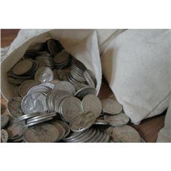 Canvas Bag with 250 Washington Quarters-90% Silver