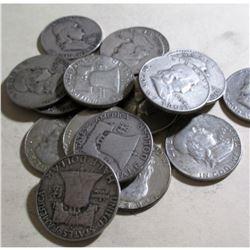 (20) Franklin Half Dollars -90% Silver