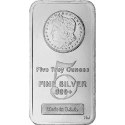 5 oz Morgan Design Silver bar . 999 Pure