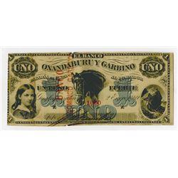 Banco Oxandaburu y Garbino. 1869. Issued Banknote.