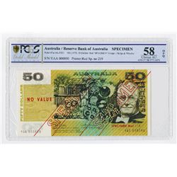 Reserve Bank of Australia, ND (1973) Specimen Banknote Rarity.