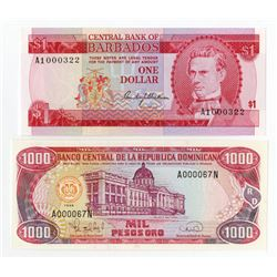 Caribbean Issuer Pair. 1973-1996. Pair of Low Serial Number Notes.