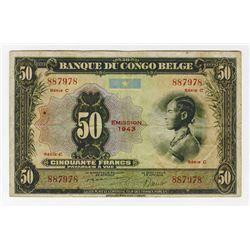 Banque Du Congo Belge, 1943 Issue Banknote.