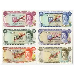 Bermuda Monetary Authority, Specimen Set PCS1, (1978-1984) $1 to $100, Various Dates.