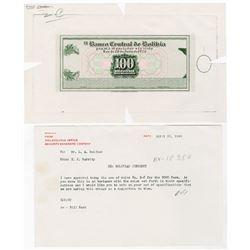 Banco Central de Bolivia. 1928 (1949). Proof Banknote + Correspondence.