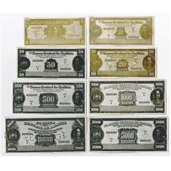 Banco Central de Bolivia. 1949, Lot of 8 Matching Unadopted Bromide Photo Proofs.