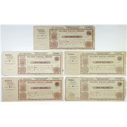 British Guiana Postmaster General. ND (ca. 1900-20's). Quintet of Inland Postal Orders.