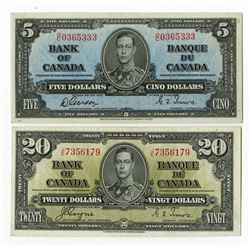 Banque du Canada. 1937. Pair of Issued Banknotes.