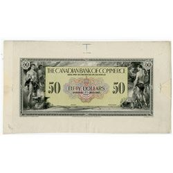 Canadian Bank of Commerce, 1917 (1921)  $50 Color Face Proof.