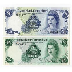 Cayman Islands Currency Board. 1971-1985. Pair of Issued Notes.