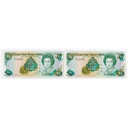 Cayman Islands Monetary Authority, 2005 Series Issued Under 2004 Revision Sequential Banknote Pair.