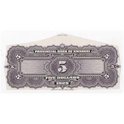 Provincial Bank of Kwangsi. 1929. Uniface Proof.