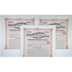 Chinese Imperial Railway Gold Loan, Shanghai-Nanking Railway, 1904 Issued Bond Trio
