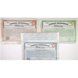 Chinese Government 1919 8% 10-Year Sterling Treasury Notes 'Vicker's Loan', Issued Trio of Bonds