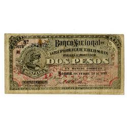Banco Nacional de la Republica de Colombia, 1899, Issued Banknote.