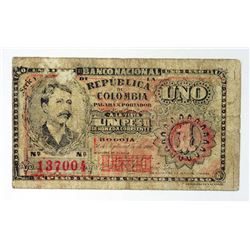 Banco Nacional de la Republica de Colombia. 1900. Issued Banknote.