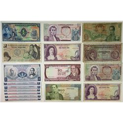 Banco de la Republica. 1940s-1980s. Group of 17 Issued Notes.