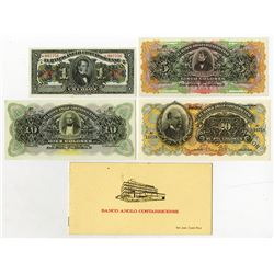 Banco Anglo Costarricense. 19-- (ca. 1917). Quartet of Specimen Notes w/Booklet.