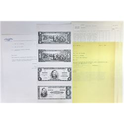 Banco Central de Costa Rica. 1967-1968. Archival Photo Proof Quartet & Correspondence.