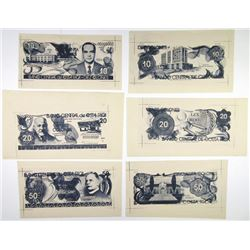 Banco Central de Costa Rica. 1971. Archival Photo Proof Group of 6 Essay Designs.