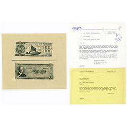 Banco Central de Costa Rica. 1968-1972. Archival Photo Proof Pair & Correspondence.