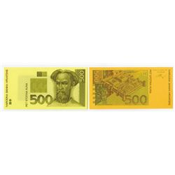 Narodna Bank Hrvatske. 1993 (1994). Pair of Progress Proofs.