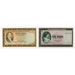 Republika & Narodna Banka Ceskoslovenska. 1945-1946. Pair of Issued Banknotes.