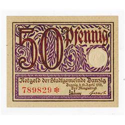 Notgeld Der Stadtgemeinde Danzig, 1919 Issue Notgeld Note.