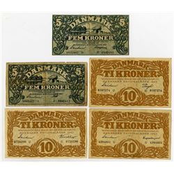 Danmarks Nationalbank. 1942-1943. Quintet of Issued Banknotes.