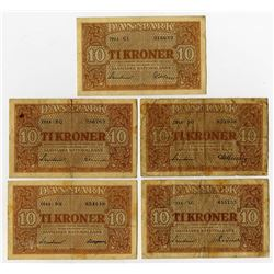 Danmarks Nationalbank. 1944. Quintet of Issued Banknotes.