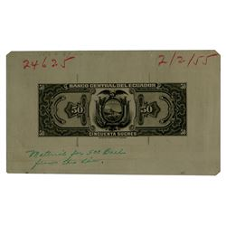 Banco Central del Ecuador. 1955. Unusual Metal Photo Plate Proof.
