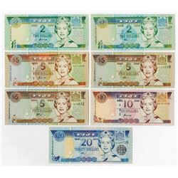 Reserve Bank of Fiji. 1992-1995. Group of 7 Issued Banknotes.