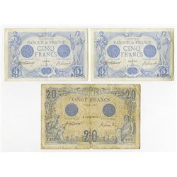 Banque de France. 1912-1916. Trio of Issued Notes.