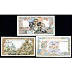 Banque de France. 1940-45. Trio of Issued Banknotes.