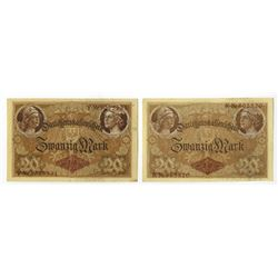 Darlehenskassenschein. 1914. Pair of Issued Notes.