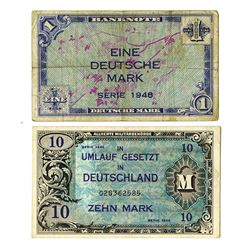Allierte Milit_rbeh_rde. 1944-1948. Pair of Military Issue Notes.