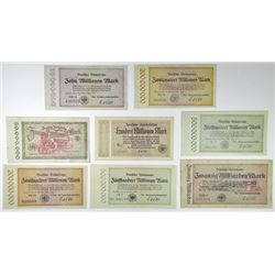 Deutsche Reichsbahn (German Railroad). 1923-1924. Octet of Post-WWI Inflationary Issued Notes.