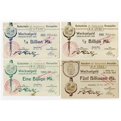 Annweiler. 1923. Quartet of Issued Wechselgeld.