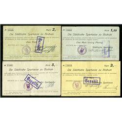 Bochum. Statische Sparkasse. 1914. Quartet of Issued Notgeld.