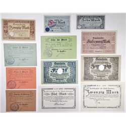 D_beln, N_renberg and other Assorted German Notgeld Issuers. 1918. Group of 12 Issued Notes.