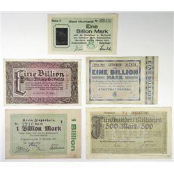 Passau; Stadt Murrhardt; Stadt Wetzlar and other Assorted German Notgeld Issuers. 1923. Group of 5 I