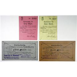 Sterkrade & WÙstegiersdorf. 1914. Quartet of Issued Notgeld.